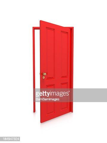 Open red door on white background