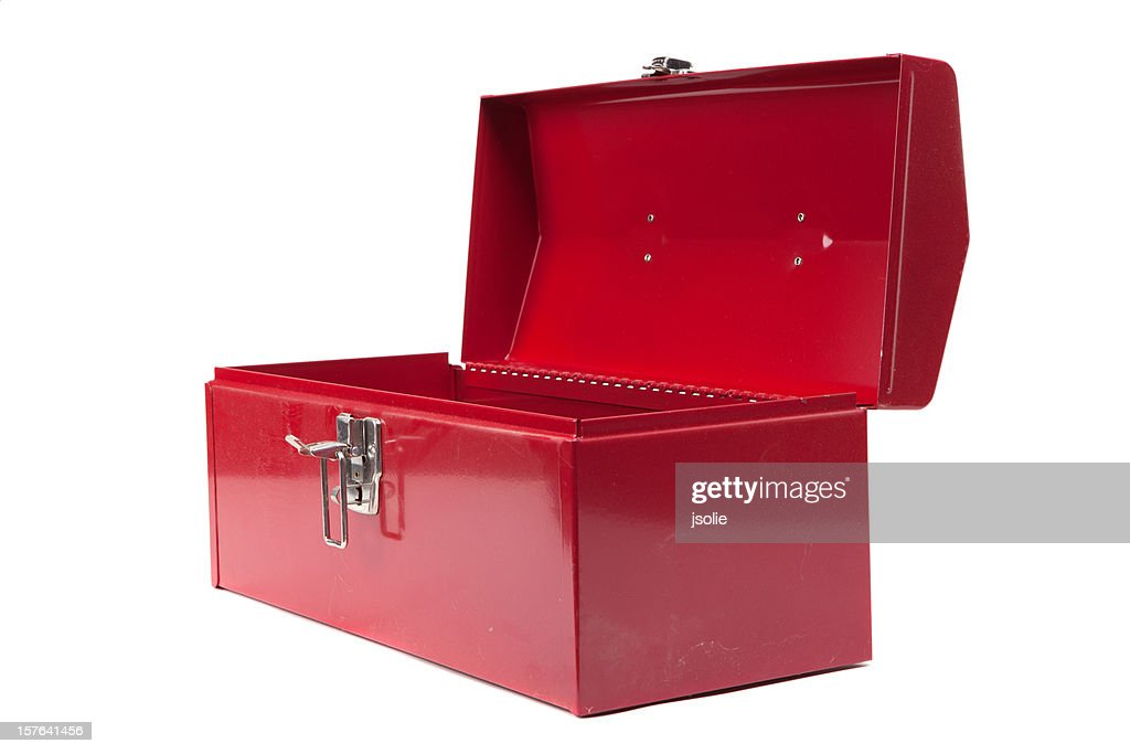 Open red dusty toolbox : Stockfoto