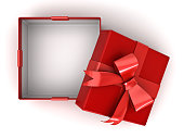 Open red gift box or present box with red ribbon bow and empty space in the box isolated on white background with shadow . 3D rendering.