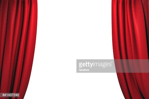 Open red stage curtains : Stock Photo
