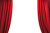 Open red velvet stage curtains on white background. 3D illustration