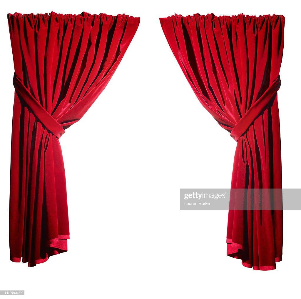 Open Red Velvet Curtains : Stock Photo