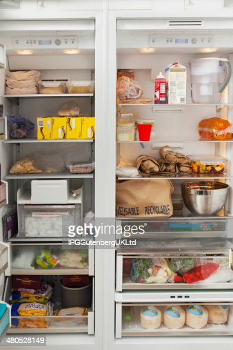 Open Refrigerator With Food Items : Stock Photo