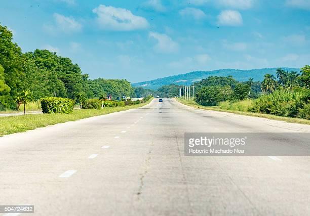 Open road in Cuba National Highway from Santa Clara to Havana Scenic drive in the Cuba on the way to havana