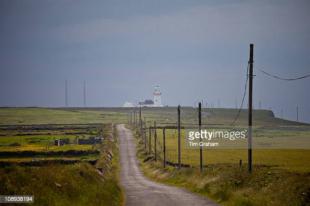 Open road to Loop Head lighthouse at the end of the Loop peninsula County Clare West of Ireland
