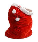 Red Velvet Santa Bag Open Isolated on White Background.