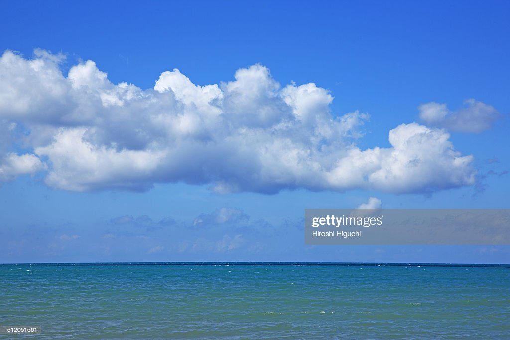 Open sea, blue sky and white clouds