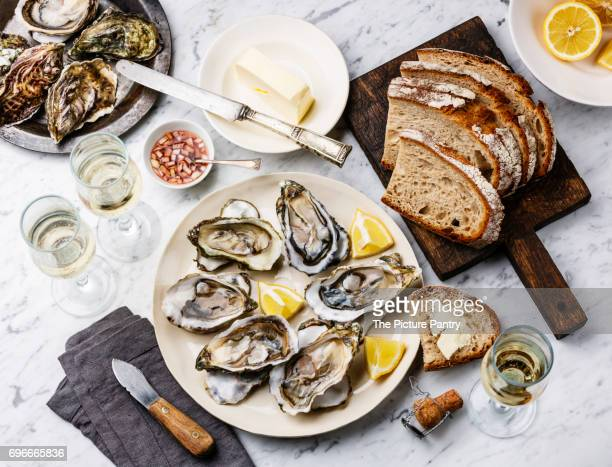 Open shucked Oysters with bread, butter and champagne on white marble background