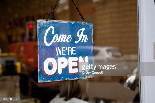 Open sign in shop