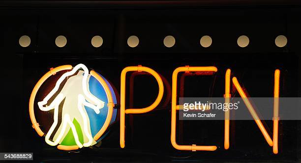 Open sign with Sasquatch in neon Yeti Yogurt Queen Anne district Seattle Washington March 8 2015