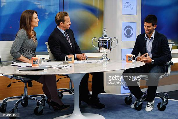 Open Singles Men's Champion Novak Djokovic of Serbia is interviewed by hosts Erica Hill and Chris Wragge on CBS the Early Show on September 13 2011...