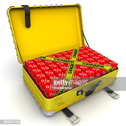 Open suitcase full of discounts. Financial concept : Stock Photo