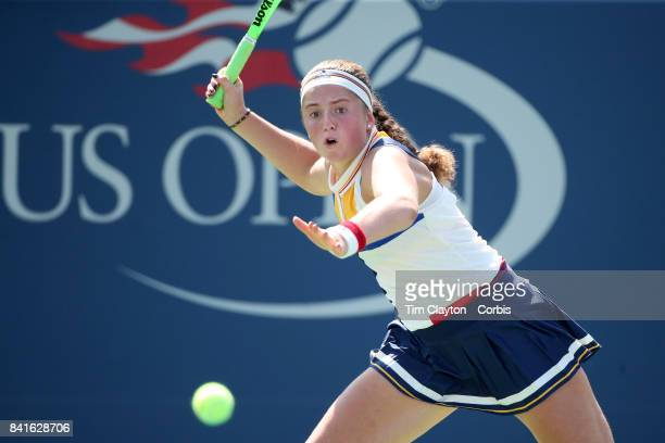 S Open Tennis Tournament DAY FOUR Jelena Ostapenko of Latvia in action against Sorana Cirstea of Romania during the Women's Singles round two match...