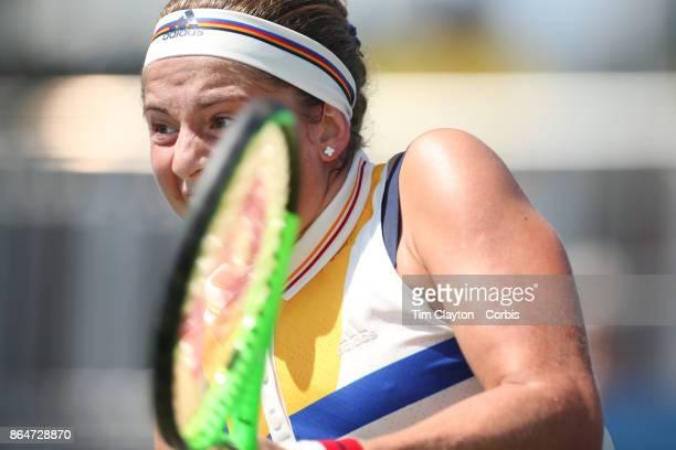 S Open Tennis Tournament DAY FOUR Jelena Ostapenko of Latvia in action against Sorana Cirstea of Romania during the Women'u2019s Singles round two...