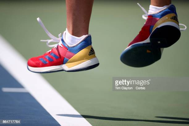 S Open Tennis Tournament DAY FOUR Jelena Ostapenko of Latvia serving against Sorana Cirstea of Romania during the Women'u2019s Singles round two...