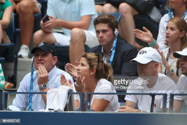 S Open Tennis Tournament DAY FOUR Mirka Federer watching Roger Federer of Switzerland in action against Mikhail Youzhny of Russia during the Men's...