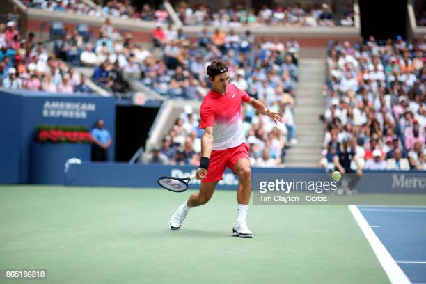 S Open Tennis Tournament DAY FOUR Roger Federer of Switzerland in action against Mikhail Youzhny of Russia during the Men's Singles round two match...