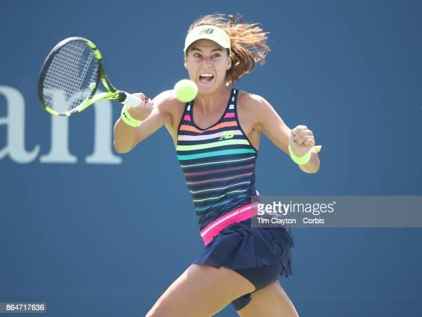 S Open Tennis Tournament DAY FOUR Sorana Cirstea of Romania in action against Jelena Ostapenko of Latvia during the Women'u2019s Singles round two...