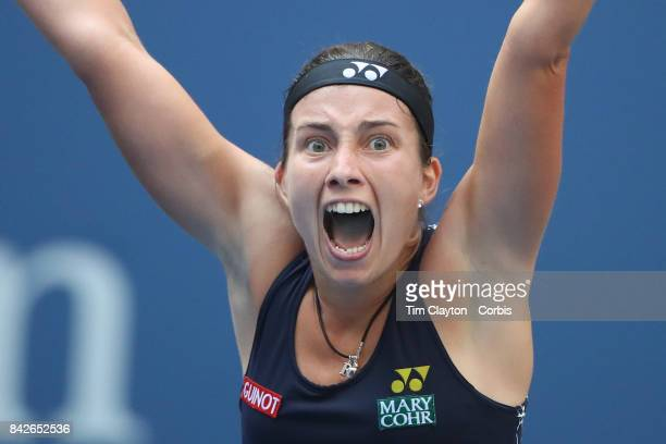 S Open Tennis Tournament DAY SEVEN Anastasija Sevastova of Latvia celebrates her win against Maria Sharapova of Russia during the Women's Singles...