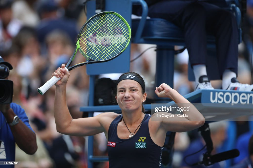 S. Open Tennis Tournament - DAY SEVEN. Anastasija Sevastova of Latvia celebrates her win against Maria Sharapova of Russia during the Women's Singles round four match at the US Open Tennis Tournament at the USTA Billie Jean King National Tennis Center on September 03, 2017 in Flushing, Queens, New York City. (Photo by Tim Clayton/Corbis via Getty Images)'n