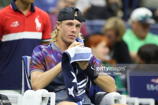 S Open Tennis Tournament DAY SEVEN Denis Shapovalov of Canada in action against Pablo Carreno Busta of Spain during the Men's Singles round four...