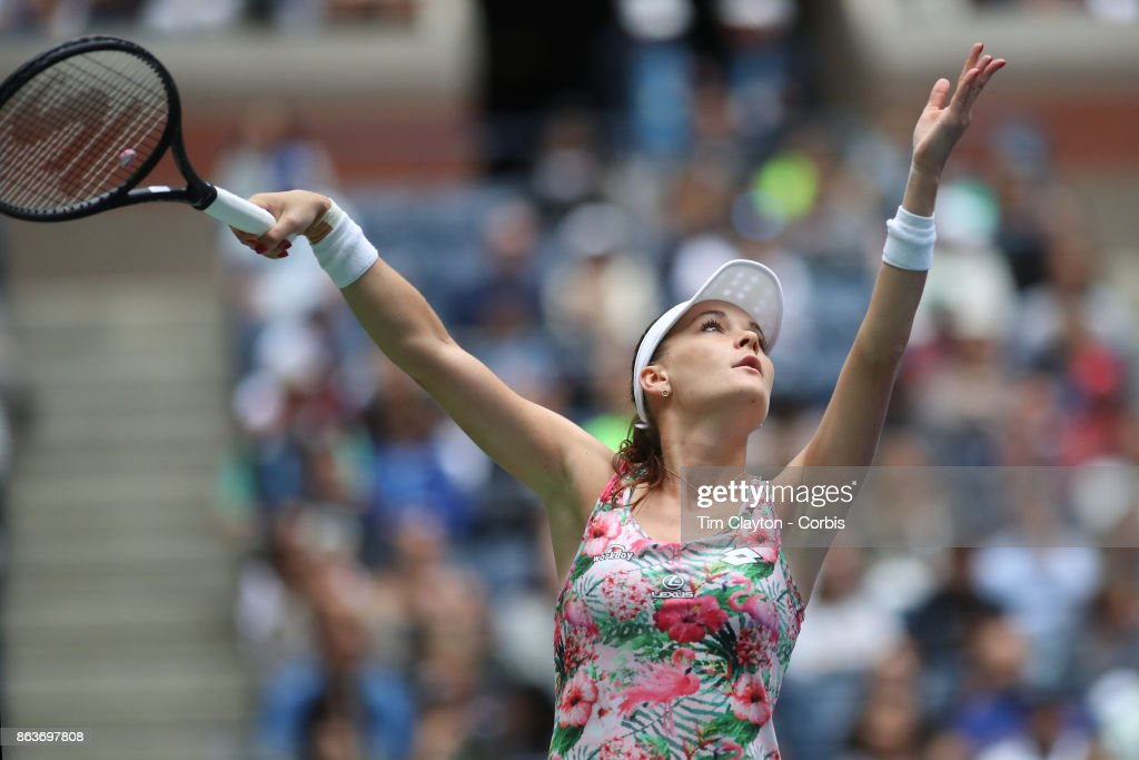 S. Open Tennis Tournament - DAY SIX. Agnieszka Radwanska of Poland in action against CoCo Vandeweghe of the United States during the Women's Singles round three match at the US Open Tennis Tournament at the USTA Billie Jean King National Tennis Center on September 02, 2017 in Flushing, Queens, New York City. (Photo by Tim Clayton/Corbis via Getty Images)'n