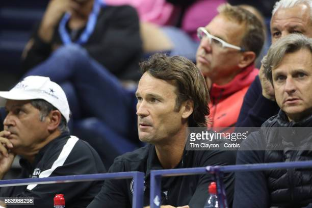 S Open Tennis Tournament DAY SIX Coach Carlos Moya watching Rafael Nadal of Spain in action against Leonardo Mayer of Argentina in the Men's Singles...