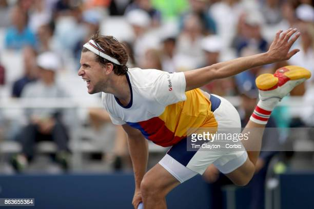 S Open Tennis Tournament DAY SIX Dominic Thiem of Austria in action against Adrian Mannarino of France during the Men's Singles round three match at...