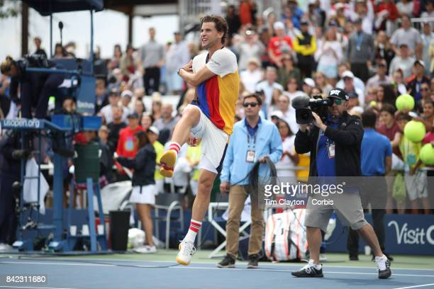 S Open Tennis Tournament DAY SIX Dominic Thiem of Austria kicks balls into the crowd after his win against Adrian Mannarino of France during the...