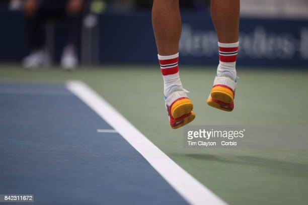 S Open Tennis Tournament DAY SIX Dominic Thiem of Austria wearing his Austrian socks in action against Adrian Mannarino of France during the Men's...