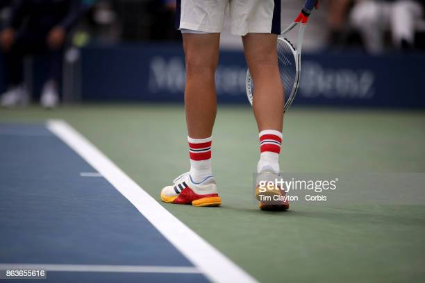 S Open Tennis Tournament DAY SIX Dominic Thiem of Austria wearing socks with Austrian colors during his match against Adrian Mannarino of France...