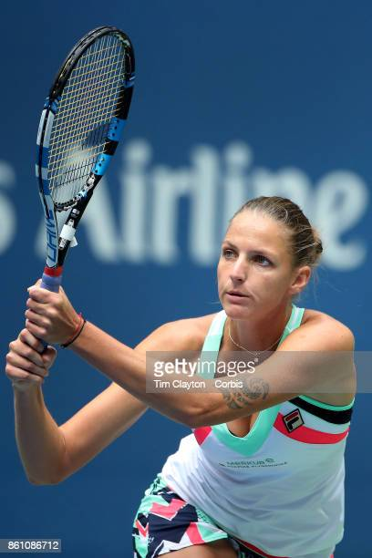 S Open Tennis Tournament DAY SIX Karolina Pliskova of the Czech Republic in action against Shuai Zhang of China during the Women's Singles round...