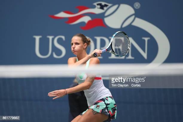 S Open Tennis Tournament DAY SIX Karolina Pliskova of the Czech Republic in action against Shuai Zhang of China during the Women's Singles round...
