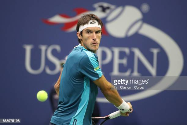 S Open Tennis Tournament DAY SIX Leonardo Mayer of Argentina in action against Rafael Nadal of Spain in the Men's Singles round three match at the US...