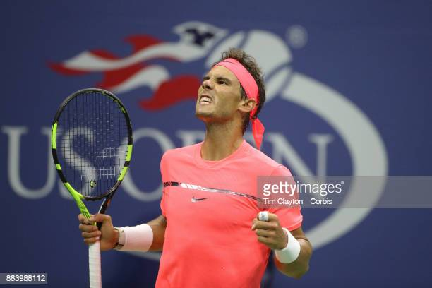S Open Tennis Tournament DAY SIX Rafael Nadal of Spain celebrates a break against Leonardo Mayer of Argentina in the Men's Singles round three match...