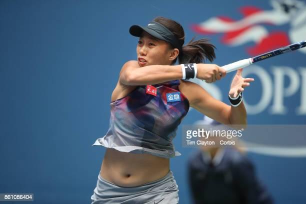 S Open Tennis Tournament DAY SIX Shuai Zhang of China in action against Karolina Pliskova of the Czech Republic during the Women's Singles round...