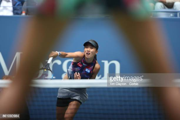S Open Tennis Tournament DAY SIX Shuai Zhang of China in action against Karolina Pliskova of the Czech Republic during the Women's Singles round...