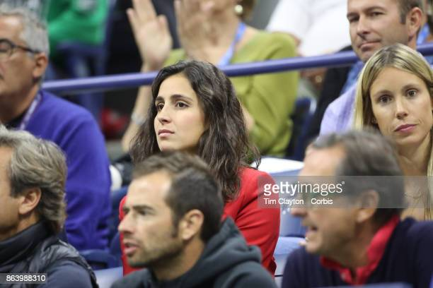 S Open Tennis Tournament DAY SIX Xisca Perello partner of Rafael Nadal of Spain watches him in action against Leonardo Mayer of Argentina in the...
