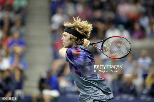 S Open Tennis Tournament DAY TEN Andrey Rublev of Russia in action against Rafael Nadal of Spain in the Men's Singles Quarterfinal match at the US...