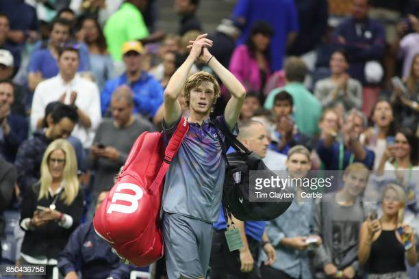 S Open Tennis Tournament DAY TEN Andrey Rublev of Russia salutes the fans after his loss against Rafael Nadal of Spain in the Men's Singles...
