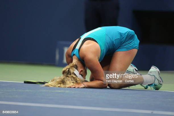 S Open Tennis Tournament DAY TEN CoCo Vandeweghe of the United States celebrates her victory against Karolina Pliskova of the Czech Republic in the...