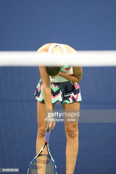 S Open Tennis Tournament DAY TEN Karolina Pliskova of the Czech Republic dejected during her loss against CoCo Vandeweghe of the United States in the...