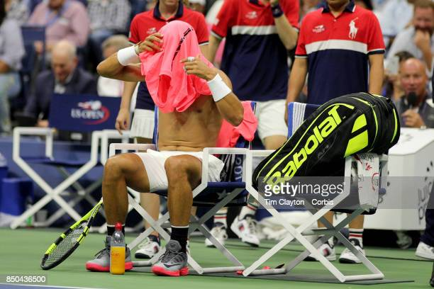 S Open Tennis Tournament DAY TEN Rafael Nadal of Spain changes his shirt during his match against Andrey Rublev of Russia in the Men's Singles...