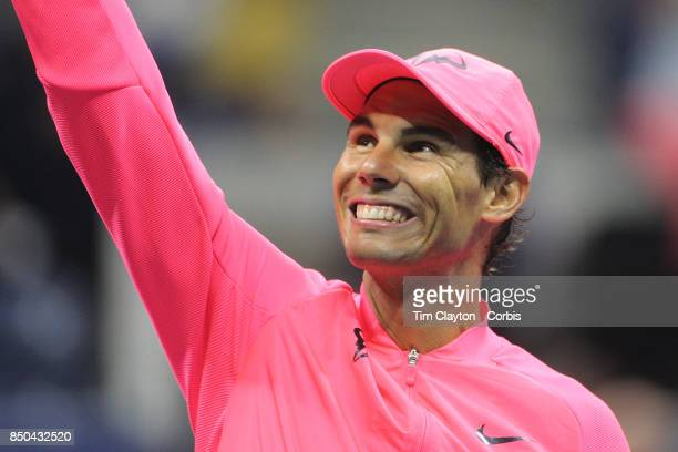 S Open Tennis Tournament DAY TEN Rafael Nadal of Spain reacts to fans while hitting balls into the crowd after his win against Andrey Rublev of...