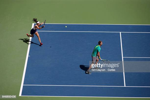 S Open Tennis Tournament DAY THIRTEEN HaoChing Chan of Chinese Taipei and Michael Venus of New Zealand in action while losing against Martina Hingis...