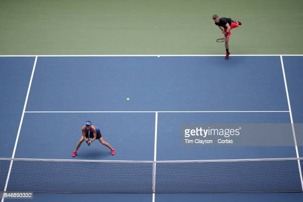 S Open Tennis Tournament DAY THIRTEEN Martina Hingis of Switzerland and Jamie Murray of Great Britain in action while winning the Mixed Doubles Final...
