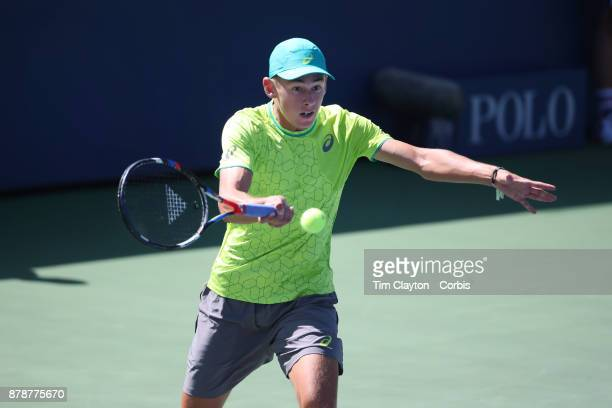 S Open Tennis Tournament DAY THREE Alex de Minaur of Australia in action against Dominic Thiem of Austria during the Men's Singles round one match at...