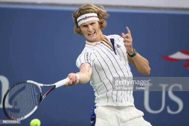 S Open Tennis Tournament DAY THREE Alexander Zverev of Germany in action against Borna Coricof Croatia during the Men'u2019s Singles round two match...