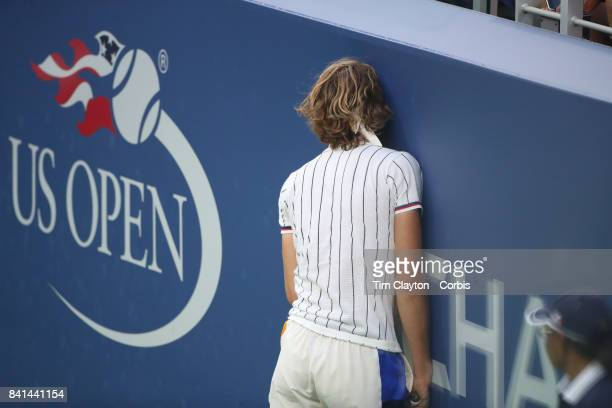 S Open Tennis Tournament DAY THREE Alexander Zverev of Germany reacts after losing the point on a long rally against Borna Coricof Croatia during...