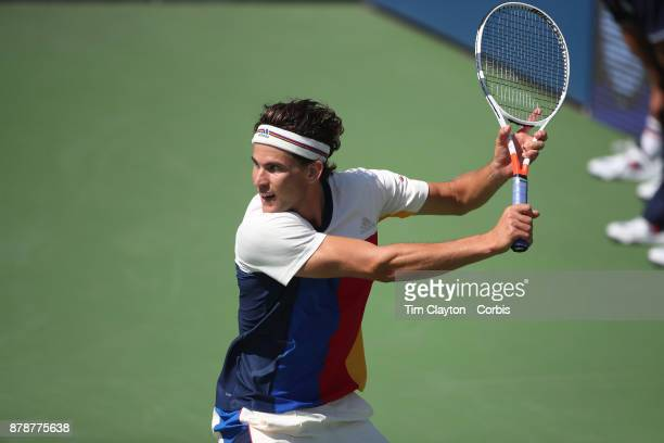 S Open Tennis Tournament DAY THREE Dominic Thiem of Austria in action against Alex de Minaur of Australia during the Men's Singles round one match at...